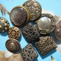 Vintage Ornate Metal and Filigree Buttons