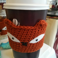 Fox Cup Sleeve, Eco Animal Coffee Mug Cosy, Decorative Jam Jar Sleeve