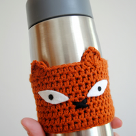 Fox Cup Sleeve, Eco Animal Coffee Mug Cosy, Zero Waste Gift