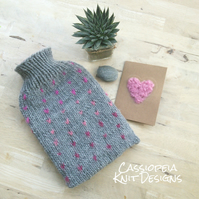 Grey Fair Isle Hot Water Bottle Cover, Knit Heart Hot Water Bottle Cosy Wool