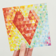 Geometric Heart Card