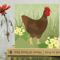 Hen Card - Easter, birthday, Spring, farm