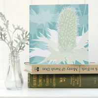 Sea Holly Christmas card - seaside, coast, for gardeners