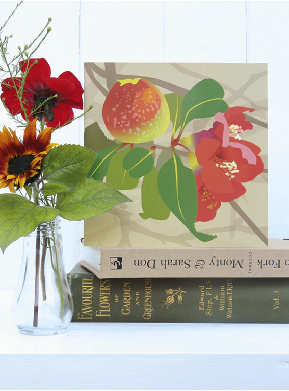 Japanese Quince Christmas card - for gardeners