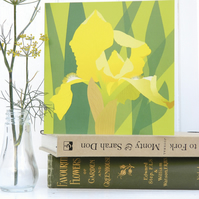 Yellow Bearded Iris card - birthday, floral, for gardeners