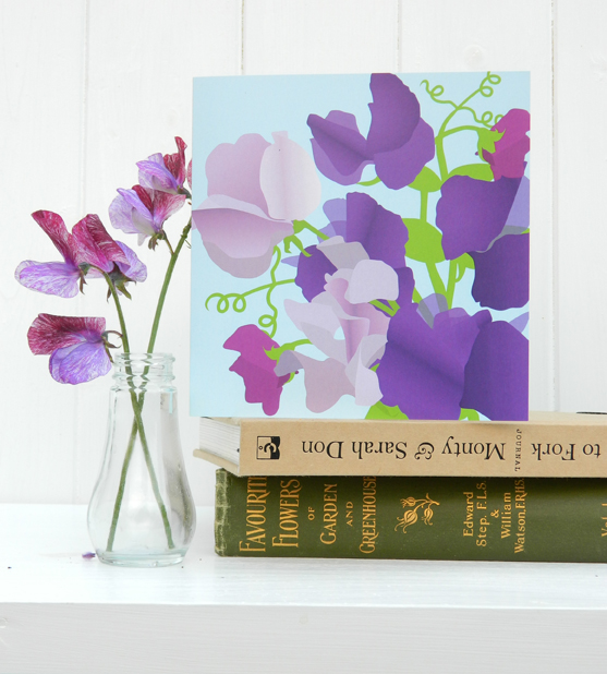 Sweet Pea card - birthday, flower, for gardeners