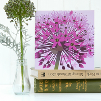 Purple Allium Card - flower, birthday, for gardeners