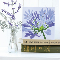 Blue Agapanthus Card - birthday, floral, summer