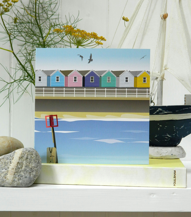 Beach Huts Card 'The Shoreline' - Summer, seaside, birthday