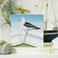 Seagull Card 'The Lookout' - summer, seaside, birthday