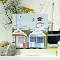 Stripey Beach Huts Card - summer, seaside, birthday