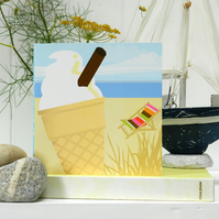 Ice Cream Seaside Card - summer, birthday, beach
