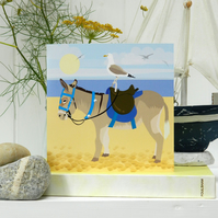 Donkey Rides Seaside Card - beach, summer birthday