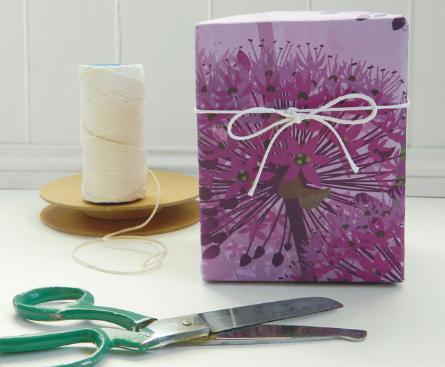 Purple Allium Gift Wrapping Paper - Single folded sheets