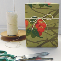 Japanese Quince Christmas Gift Wrapping Paper - single folded sheet
