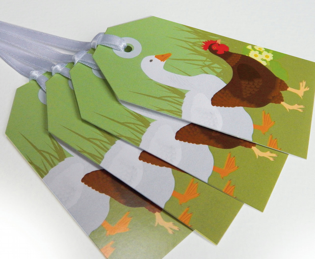 Hen & Goose Gift Tags - Easter, Spring tags