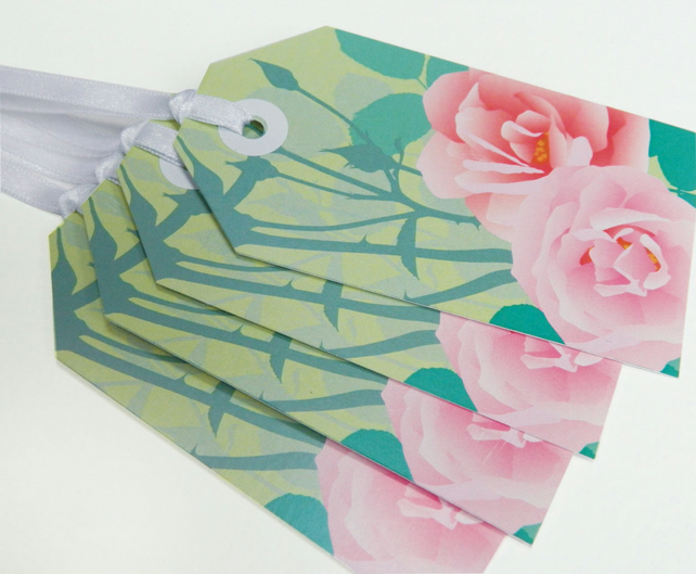 SALE - Pink Roses Gift Tags - Summer flower tags, Pack of 10 tags