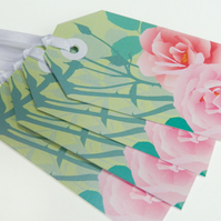 Pink Roses Gift Tags - set of four Summer flower tags