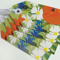 Poppy Field Gift Tags - wildflower meadow