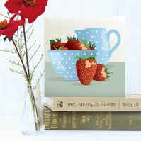 Strawberries and Cream Greetings Card - Summer, birthday, blank