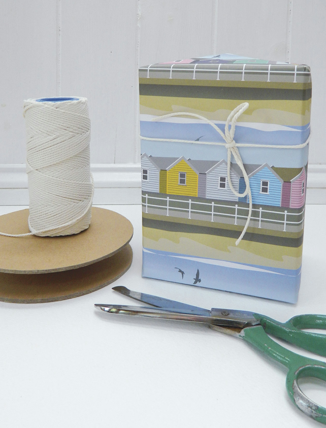 Beach Hut Gift Wrapping Paper - Single folded sheets