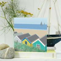 Beach Huts Card - seaside, birthday, Fathers Day