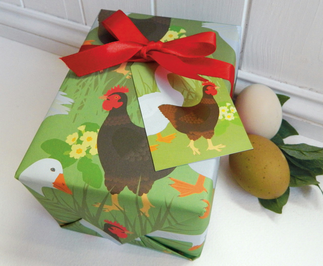 Hen and Goose Farm Gift Wrapping Paper Set - Spring, Chicken, Easter
