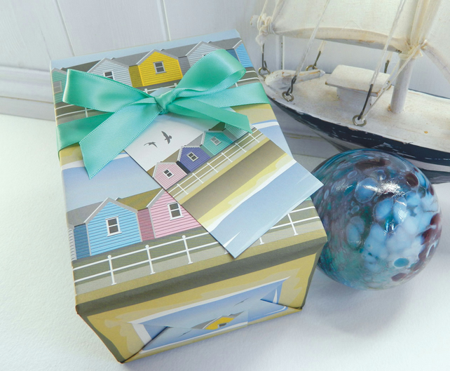 Beach Huts Gift Wrapping Paper Set - Seaside, Summer, Father's Day