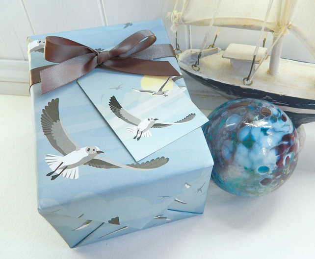 Seagull Gift Wrapping Paper Set - Seaside, British Birds, Gifts for Him