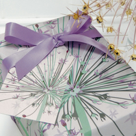 Giant Allium Gift Wrapping Paper Set - summer flower, gifts for gardeners