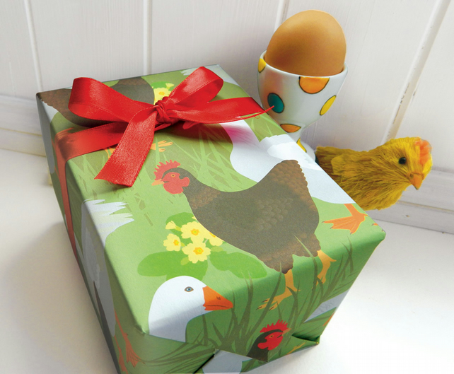 Easter Hen Gift Wrapping Paper Set - Spring, Chicken, Easter gifts