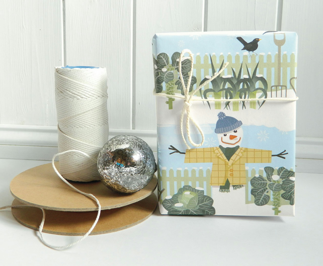 Winter Allotment Snowman Christmas Gift Wrapping Paper