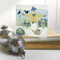 Winter Allotment Snowman Christmas Card