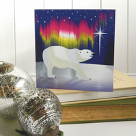 Arctic Woodland Polar Bear Christmas Card