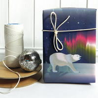 Arctic Woodland Polar Bear Christmas Gift Wrap
