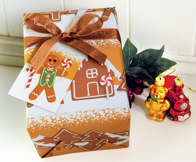 Gingerbread Christmas Gift Wrap Set