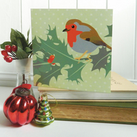 Robin and Holly Christmas Card