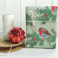 Robin Christmas Gift Wrapping Paper