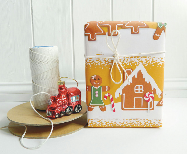 Gingerbread Man Christmas Gift Wrapping Paper
