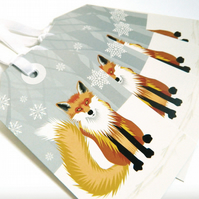 Winter Fox Christmas Gift Tags - pack of Four tags
