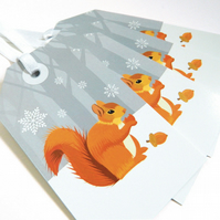 Winter Squirrel Christmas Gift Tags - pack of Four tags