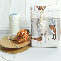 Fox & Pheasant Christmas Gift Wrap - Eco Friendly, Compostable