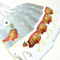 Pheasant Christmas Gift Tags - pack of Four tags