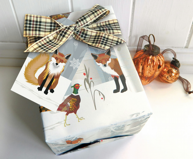 Fox and Pheasant Christmas Gift Wrapping Paper Set