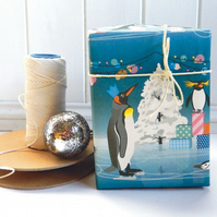 Penguin Christmas Gift Wrapping Paper - Penguin Party!