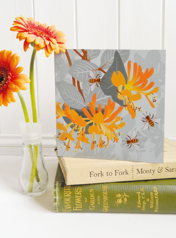 Bees with Honeysuckle Card - birthday, floral, summer