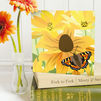 Rudbeckia and Butterfly Card - birthday, floral, summer, Tortoiseshell butterfly
