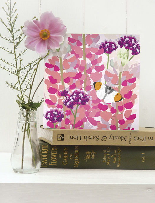 Lupins and Butterfly Card - birthday, floral, summer, Orange Tip butterfly