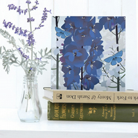 Delphiniums and Butterfly Card - birthday, floral, summer, Blue Adonis butterfly