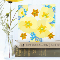 Primroses and Forget-Me-Nots Card - Spring, Birthday, Floral